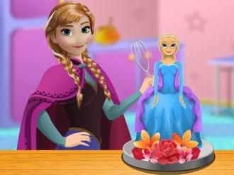 Anna cooking Frozen Cake