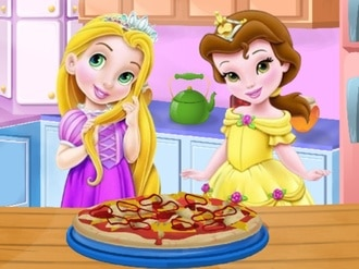 Baby Rapunzel and Belle cooking Pizza
