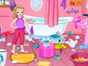 Little Girl Bathroom Cleaning
