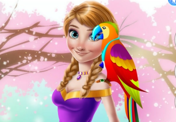 Ice Princess And Cute Parrot